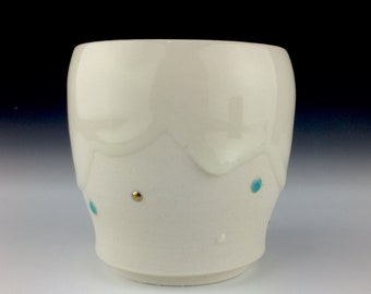 Cloud cup with gold dots