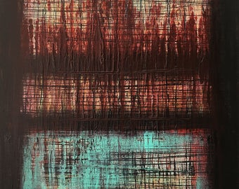 Abstract Art Window To The City original painting by artist Rafi Perez Mixed Medium on Canvas 18X24