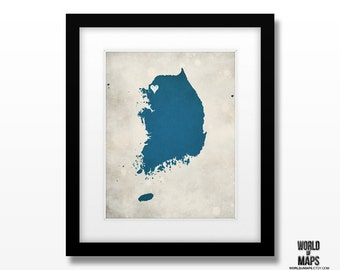 South Korea Map Print - Home Town Love - Personalized Art Print Available in Different Sizes & Colors