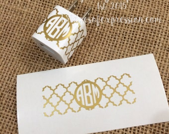 Quatrefoil Monogram iPhone Charger Glossy Decal Sticker (DECAL ONLY)