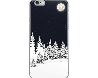 iPhone 6/6S/6S+/6+/7/7+/8/8+/X Case - Snowy Pine Trees under the Moonlight
