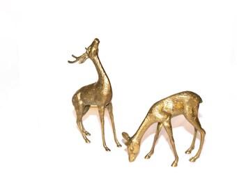 Vintage Brass Deer Figurines LARGE Deer Doe Buck Rustic Deer Reindeer Deer Statue Wedding Decor Christmas Decorations