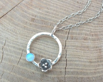 Sterling Silver Circle Necklace, Flower Necklace, Silver Infinity Circle Necklace, Silver Poppy Necklace