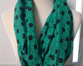 Green Flower Infinity Scarf