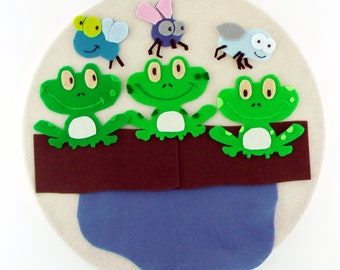 Montessori Learning Activity, 3 Green Frogs Song, Gift Montessori Educational Toy, Quiet Learning Gift, Preschool Teacher Gift,  Busy Bag