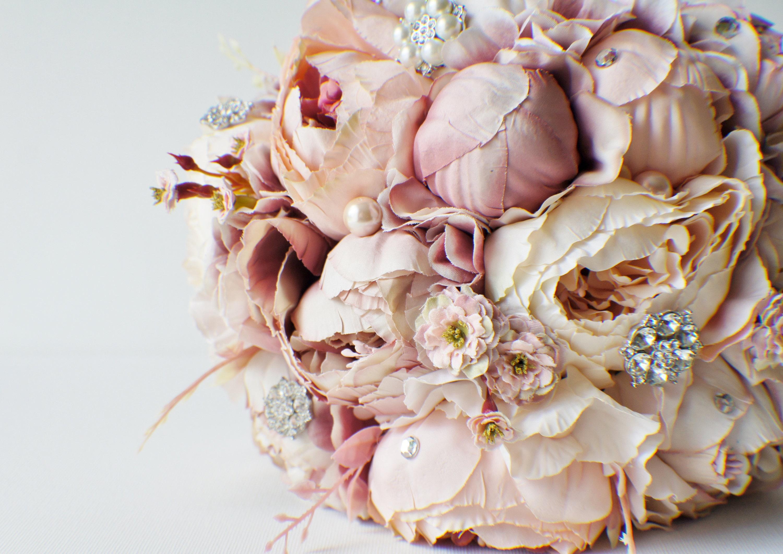 Peony Bridal Bouquet Silk Wedding Flowers Brooch Bouquet