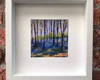 Bluebell wood, print of an original oil painting framed and signed by the Artist