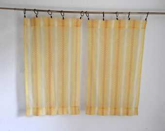 yellow curtains, short, small curtain pair. Vintage Curtains, Vintage Drapery, sheer curtains, mesh curtains