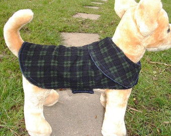 Dog Jacket -  Black Watch Corduroy Plaid Coat- Size XX Small- 8 to 10 Inch Back Length - Or Custom Size
