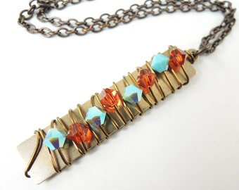Crystal Pillar Necklace in Turquoise in blue and Indian Red