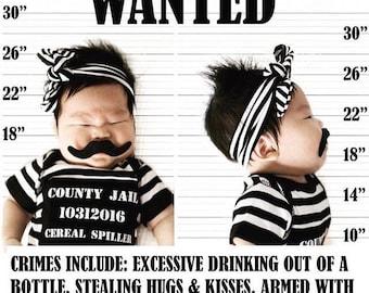 Jailbird Baby Costume, Prisoner Costume, Funny Costume, Baby Boy Bodysuit, Halloween, Cops and Robbers, Babys First Halloween