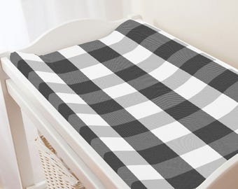 Carousel Designs Onyx and Cloud Gray Buffalo Check Changing Pad Cover