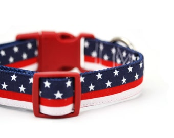 American Flag Dog Collar Patriotic Red White Blue 4th of July Stars and Stripes Dog Collar