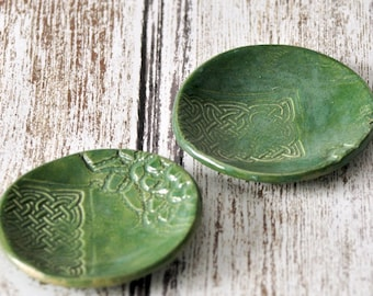 Set of 2 Catch All Plates, Ceramic, Dark Green Dishes, Celtic Knot Work, Lace Pottery, Rustic Home Decor, ceramic dishes, small plates, pair