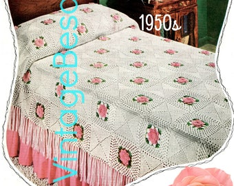 INSTANT DOWNlOAD • PdF Pattern • Afghan Crochet PATTERN • Vintage 1950s ROSE Bedspread • Retro Crochet Pattern • Granny Square Motif Style