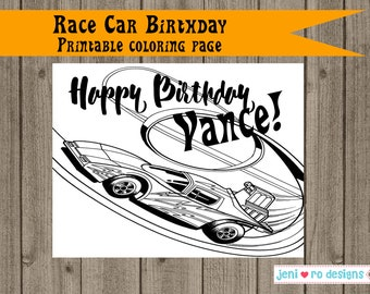 Race Car Birthday Printable Coloring Page