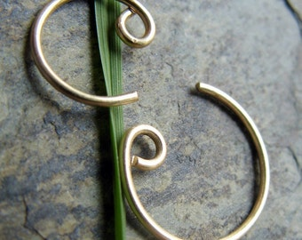 18g catchless nose ring-- solid 14k gold, gold fill or niobium-- primitive series-- handmade by thebeadedily