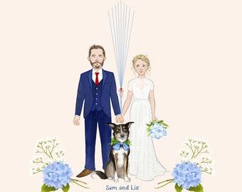 Unique fingerprint guest book - wedding balloons - print - gift - guestbook - portrait - drawing - illustration - custom
