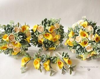Boda verde amarillo set boda bouquet suculenta novia bouquet con suculentas y callas arcilla boda bouquet ramo de amarillo Calla lilly