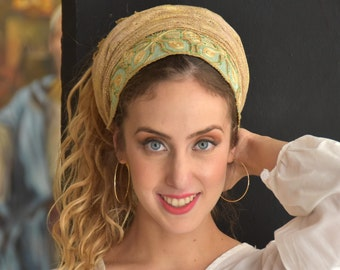 Golden Mint Soft Headscarf Tichel, Snood, Head Scarf, Head Covering, Jewish Headcovering, Scarf, Bandana, Apron