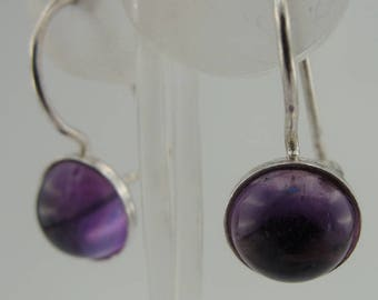 Silver Stone Amethyst  earrings, Great handcrafted 925 Sterling Silver  Earrings, Stone Amethyst  earrings, birthday gift, everyday (is 208