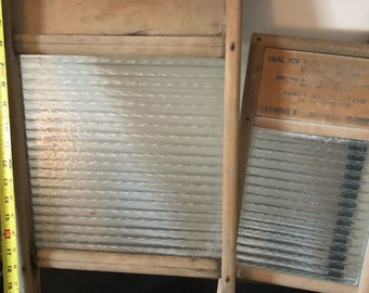 Spectacular  Vintage Columbus Glass Washboard Set of 2. Family one and travel one.