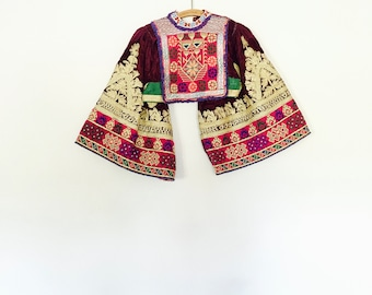 Afghan vintage cropped embroidered velvet showpiece top . // Size xxsmall - xsmall