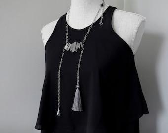Gunmetal Quartz Spike Necklace, Rough Cut Titanium Quartz Point Necklace, Silk Tassel Necklace Swarovski Crystal, Asymmetrical Modern Gothic