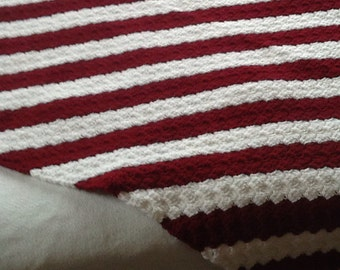 no. 1 Crocheted lap afghan in burgandy and white