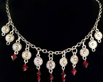 Gothic Gypsy Vampire Necklace Choker in Antique Silver with Blood Drop Red Crystal Dangles OOAK Upcycled Vintage