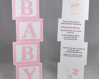 10 Personalized Baby Blocks Baby Shower Invitation in Pink, Mint and Peach