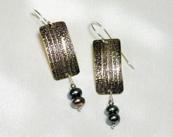 Textured Brass Rectangle Earrings with Freshwater Pearls