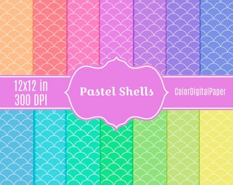 Pastel Shells Paper Scallop Paper Ombre Paper Digital Paper Baby Shower Background Commercial Use Printable Scrapbook Paper Pack