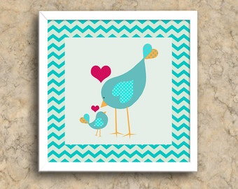 Birdie Love | Mama and Baby Bird Love | Home Decor Wall Art Printable | Instant Digital Download Wall Art | Digital Prints | Printable Art