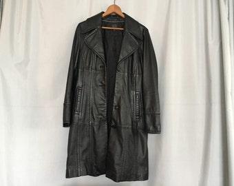 Black Leather Jacket Vintage Wilson Coat Women's Small