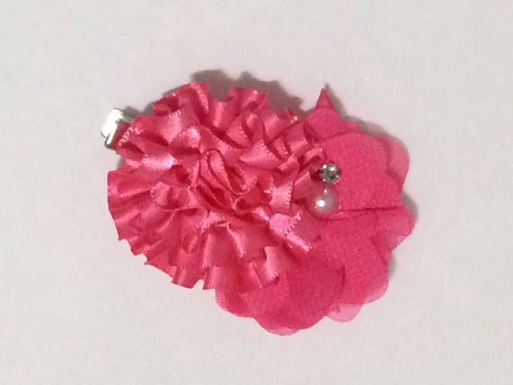 Pink flower hair clip girls hairbow pink hair accessories like this item mightylinksfo Choice Image