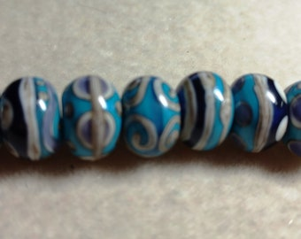 Glass Lampwork beads, 13mm x 9mm, Turquoise Tan Purple, 7 beads, made in USA