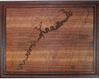Raystown Lake Engraved Wooden Map - Personalization Available