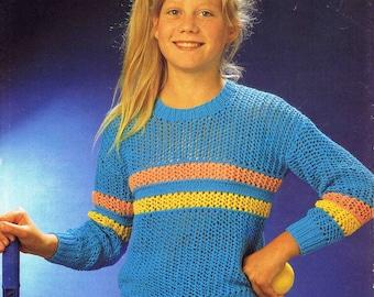 Girl's Round Neck Sweater Pullover Jumper - Size 61 to 76 cm (24 to 30 inch) - Sirdar Cotton Sunseeker DK 4491 - Vintage Knitting Pattern