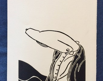 Shark Man -- Original Relief Print