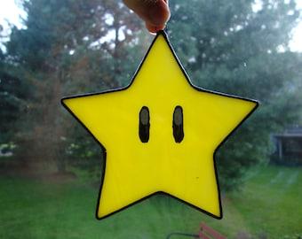 Stained glass Super Mario Invincibility Star suncatcher!
