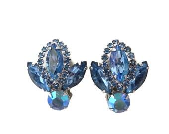 Weiss Jewelry, Vintage Blue Rhinestone Earrings, Silver Tone Clip-ons, Bridal Earrings, Signed Designer Earrings, Gift Idea