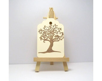 12 Gift Tags Stamped with a Tree, Tree Tags, Tree Gift Tag
