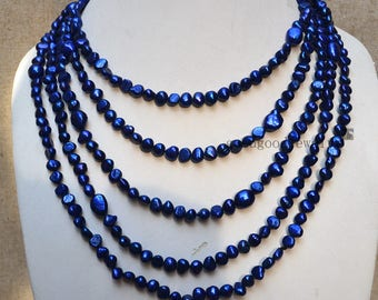 100 inches 6-10mm dyed blue navy blue baroque pearl necklace, pearl long necklace, real pearl necklace, wedding necklace,statement necklace