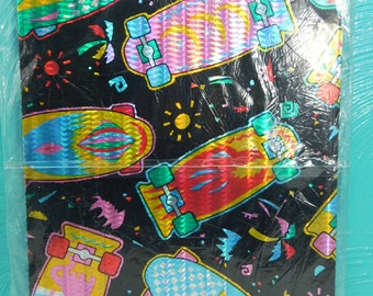 1 Sheet of Vintage 80's Black Skateboard Wrapping Paper, Prismatic Child's Gift Wrap, All Occasion Wrapping Paper