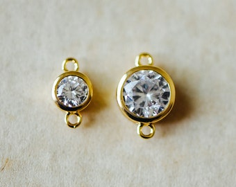10pcs Bezel Gemstone Connector 5x9mm/ 7x11mm, Real Gold plated Brass, Clear Zircon CZ Charms, Lead Nickel Free (GB-011)