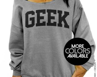 Geek, Women's Sweater, Off the Shoulder, Oversized, Slouchy Sweatshirt, Dorky Sweater, Geeky, Womens Clothing, Cute Sweater, Geek Sweatshirt