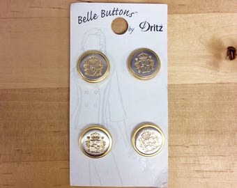 Metal Gold Silver Button Belle Buttons by Dritz Royal Crown - Gold Silver (set of 4)