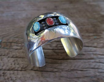 Vintage Hollow Shadowbox Turquoise & Coral Wide Cuff Bracelet. Native American Vintage Sterling Cuff. Boho Bohemian Women's Jewelry. E0007