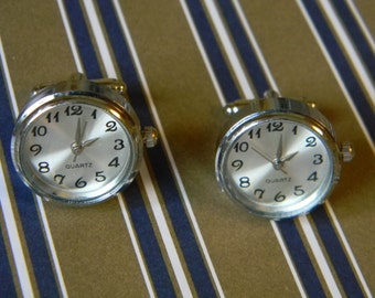 Cool Silver Tone Working Watch Cuff Links